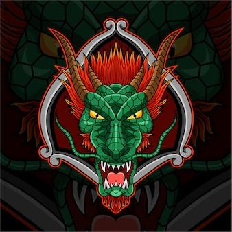 Logo maskotki e-sportowej głowy smoka