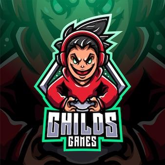 Logo maskotki e-sportowej gracza childs