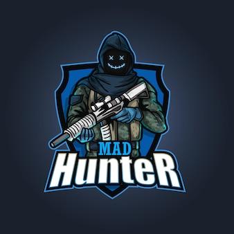 Logo maskotki e-sportowej, ilustracja myśliwy żołnierz