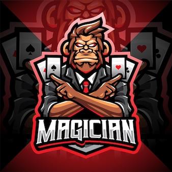 Logo maskotki e-sportowej magicznej małpy