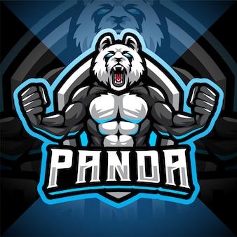 Logo maskotki e-sportowej myśliwca panda