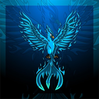 Logo maskotki e-sportowej niebieskiego feniksa