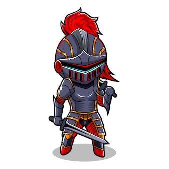 Logo maskotki e-sportowej rycerza chibi