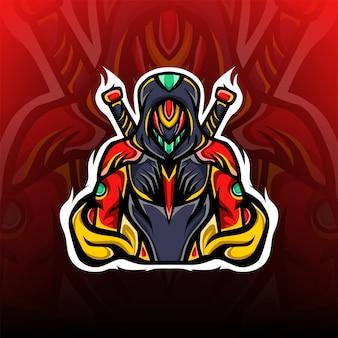 Logo maskotki e-sportowej tajemniczy miecz rycerza