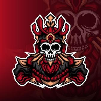 Logo maskotki e-sportowej z czerwoną czaszką potwora