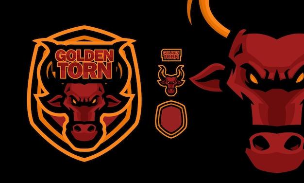 Logo maskotki e-sportu wściekły czerwony byk premium wektorów