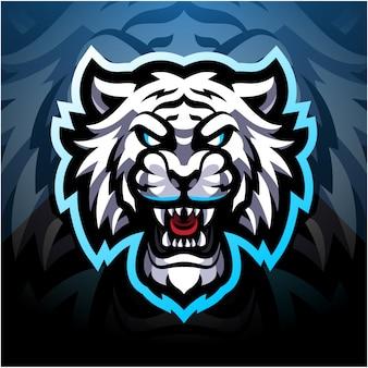Logo maskotki esport biały tygrys
