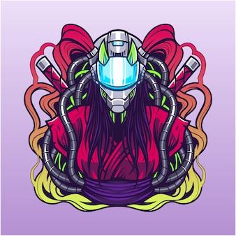 Logo maskotki esport cyberpunk
