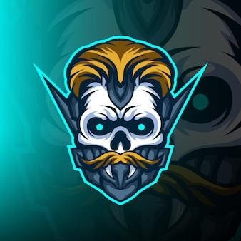 Logo maskotki esport do gier z czaszką fryzjera