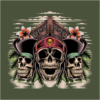 Logo maskotki esport głowy piratów