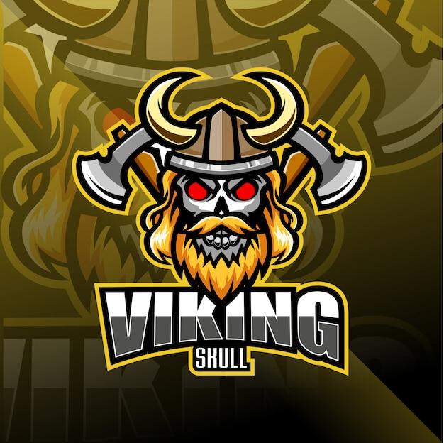 Logo maskotki esport głowy wikingów