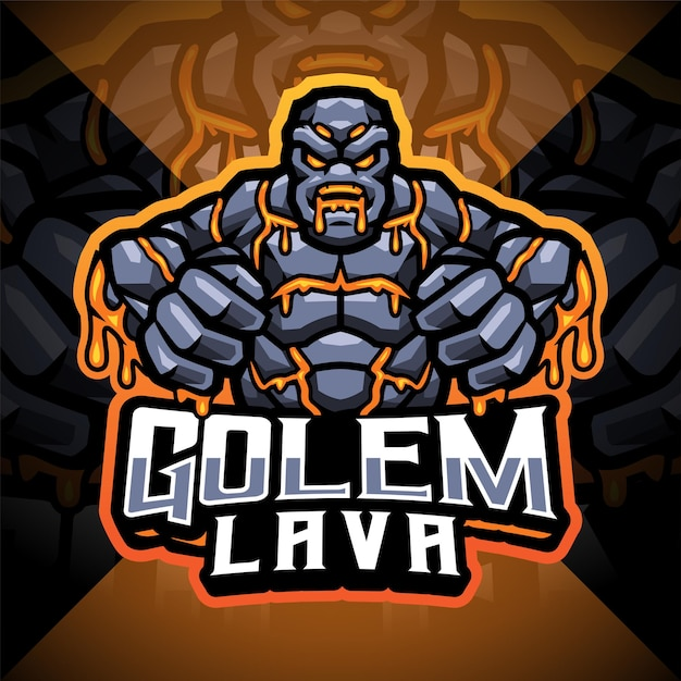 Logo maskotki esport golems lava