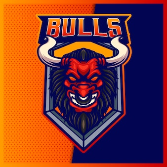 Logo maskotki esport i sportowa bestia angry bull