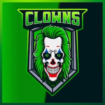 Logo maskotki esport i sportowa czaszka klauna