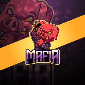 Logo maskotki esport mafia pig