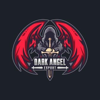 Logo maskotki esport mrocznego anioła