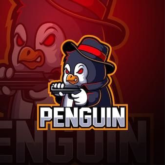Logo maskotki esport pingwina