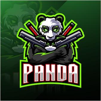 Logo maskotki esport strzelca panda