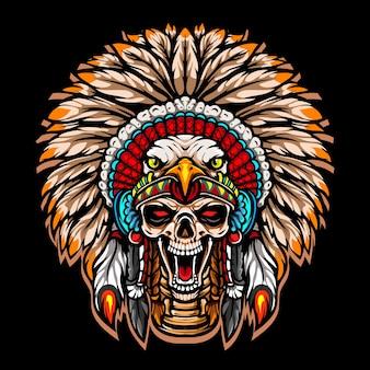 Logo maskotki esport szefa plemienia czaszki
