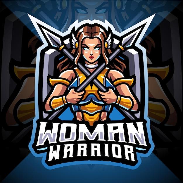 Logo maskotki esport wojownika kobiet