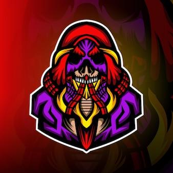 Logo maskotki esport z tajemniczą czaszką