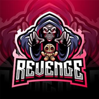 Logo maskotki esportowej czaszki czarodziej z lalką voodoo