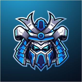 Logo maskotki esportowej głowy samuraja robota