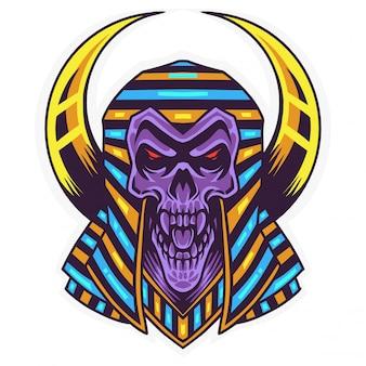 Logo maskotki faraona czaszki