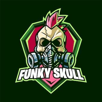 Logo maskotki funky skull dla esportu i sportu