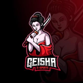 Logo maskotki gejszy dla e-sportu, gier lub zespołu