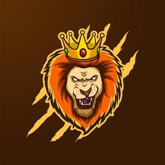 Logo maskotki głowa króla lwa