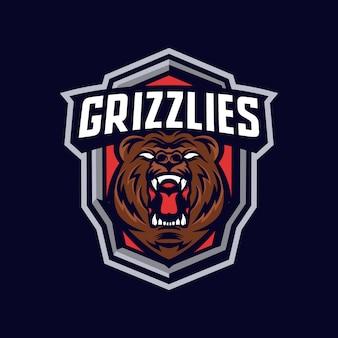 Logo maskotki głowa niedźwiedzia grizzly