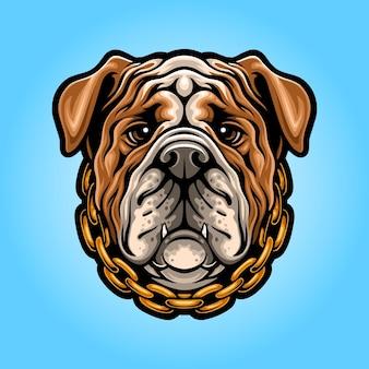 Logo maskotki głowy buldoga