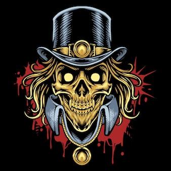 Logo maskotki głowy czaszki