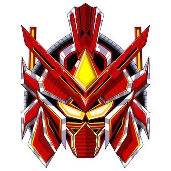 Logo maskotki głowy czerwonego robota
