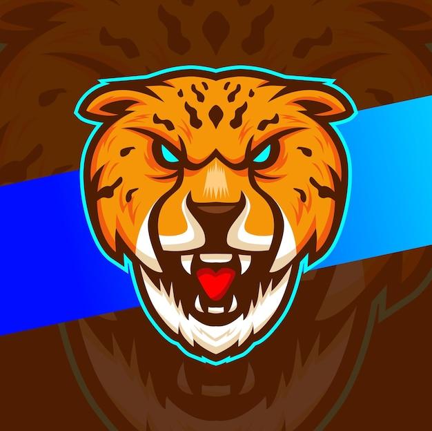 Logo maskotki głowy geparda dla projektu sportowego i gamingowego