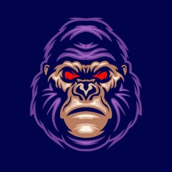 Logo maskotki głowy goryla