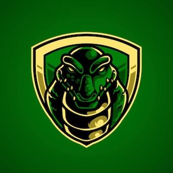 Logo maskotki głowy krokodyla e sport e