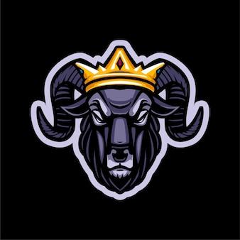 Logo maskotki głowy króla barana