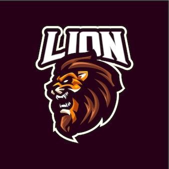 Logo maskotki głowy lwa dla e-sportu i drużyny sportowej
