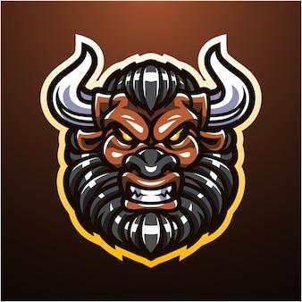 Logo maskotki głowy minotaur