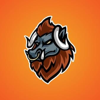 Logo maskotki głowy minotaura