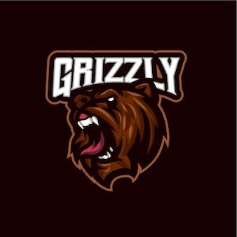 Logo maskotki głowy niedźwiedzia dla e-sportu i zespołu sportowego