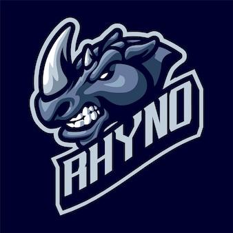 Logo maskotki głowy nosorożca dla sportu i e-sportu na białym tle