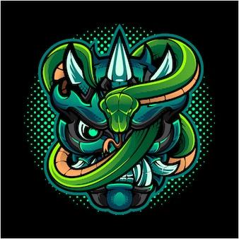 Logo maskotki głowy oni z zielonym wężem