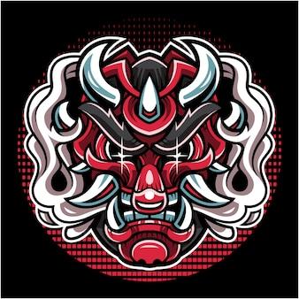 Logo maskotki głowy oni