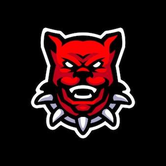 Logo maskotki głowy psa dla sportu i logo e-sportu
