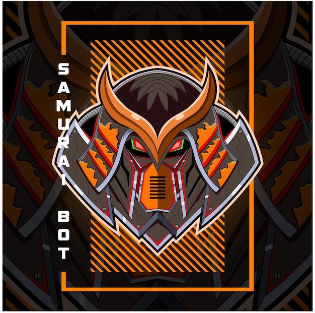 Logo maskotki głowy robota samuraja
