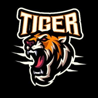 Logo maskotki głowy tygrysa dla e-sportu i zespołu sportowego