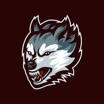 Logo maskotki głowy wilka dla e-sportu